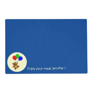 Cute bear with balloons cartoon custom kids placemat