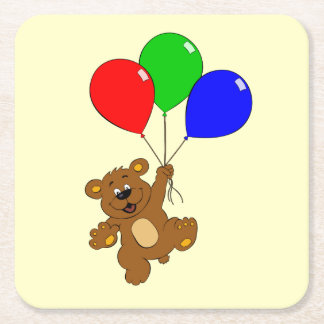 Cute bear with balloons cartoon kids coasters