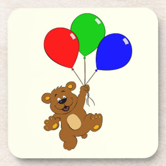 Cute bear with balloons cartoon kids drink coaster