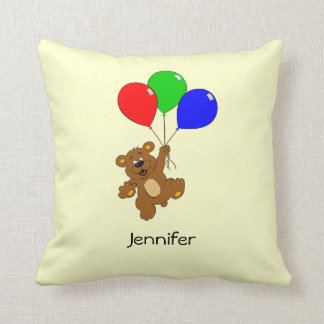 Cute bear with balloons cartoon kids name pillow