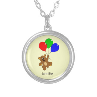 Cute bear with balloons cartoon name necklace