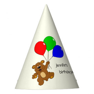 Cute bear with balloons kids birthday party hat