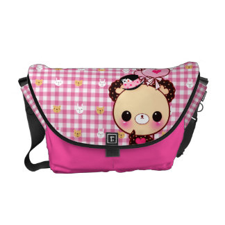 Cute bear with balloons on checked pink courier bag