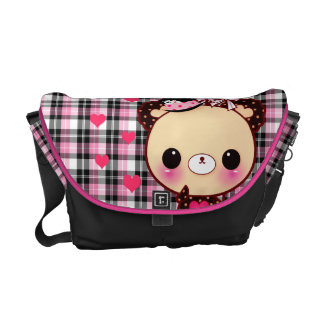 Cute bear with balloons on pink and black plaid commuter bags