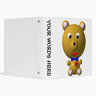 Cute bear with bowtie and heart! 3 ring binder