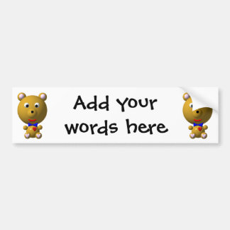 Cute bear with bowtie and heart! bumper sticker