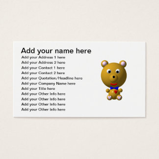 Cute bear with bowtie and heart! business card