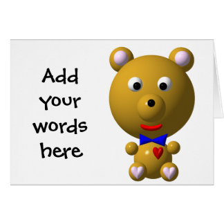 Cute bear with bowtie and heart! greeting cards