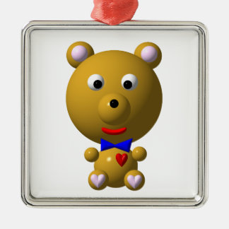 Cute bear with bowtie and heart! metal ornament