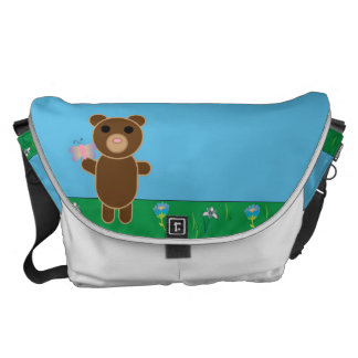 Cute Bear with Butterfly Rainbow Large Messenger Bag