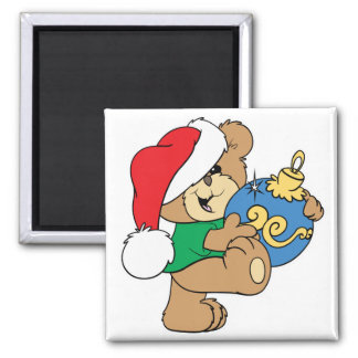 Cute Bear with Christmas Ornament 2 Inch Square Magnet