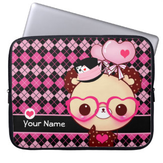 Cute bear with glasses on black and pink argyle laptop sleeve