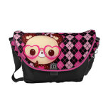Cute bear with glasses on black and pink argyle messenger bags