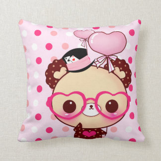 Cute bear with glasses on pink & white polka dots throw pillow