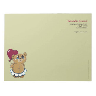 Cute Bear with Heart Balloon Large Notepad
