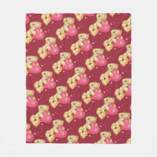 Cute Bear with Hearts Fleece Blanket