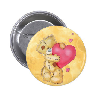 Cute Bear with Hearts Pinback Button