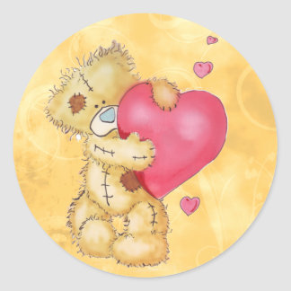 Cute Bear with Hearts Stickers
