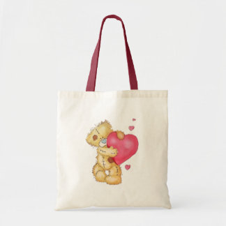 Cute Bear with Hearts Tote Bag