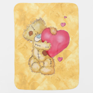 Cute Bear with Hearts Stroller Blanket