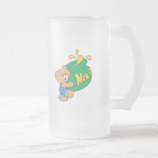 Cute Bear with Huge Honey Pot Frosted Glass Beer Mug