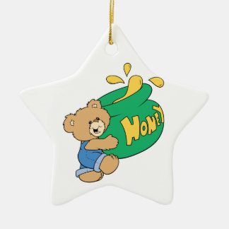Cute Bear with Huge Honey Pot Double-Sided Star Ceramic Christmas Ornament