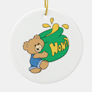 Cute Bear with Huge Honey Pot Double-Sided Ceramic Round Christmas Ornament