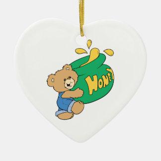Cute Bear with Huge Honey Pot Double-Sided Heart Ceramic Christmas Ornament