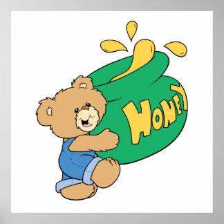 Cute Bear with Huge Honey Pot Poster