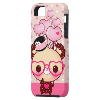Cute bear with pink glasses and balloons iPhone SE/5/5s case