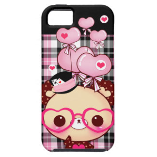 Cute bear with pink glasses and balloons on plaid iPhone SE/5/5s case
