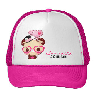 Cute bear with pink glasses - Personalized Trucker Hat