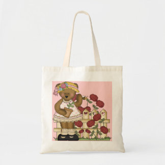 Cute Bear with Roses Tote Bag