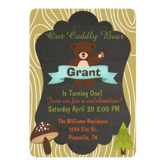 Cute bear Woodland birthday party invitation 4