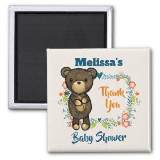 Cute Bear, Yellow Flower & Floral Wreath Thank You Magnet