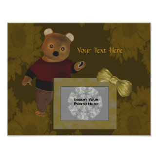 Cute Bear Your Photo Template Poster