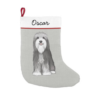 Cute Bearded Collie with Custom Text Small Christmas Stocking