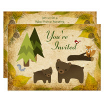 Cute Bears and Woodland Animals Baby Shower Invite