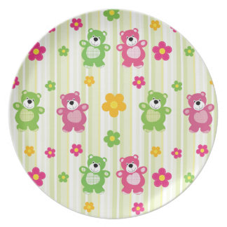 Cute Bears Floral Stripes Illustration Pattern Party Plates