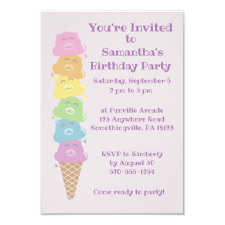 Cute Bears Ice Cream Cone Girls Birthday Party Card