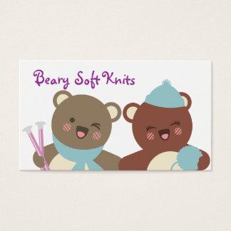 Cute bears knitting needles yarn gift tag card
