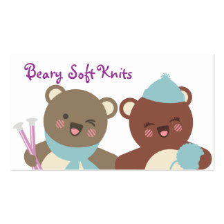 Cute bears knitting needles yarn gift tag card Double-Sided standard business cards (Pack of 100)