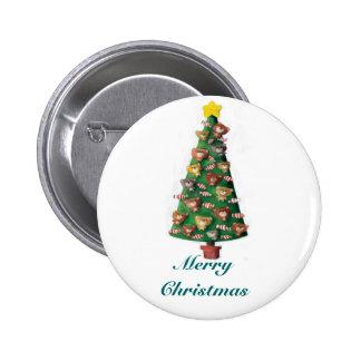 Cute Bears on Christmas Tree Pinback Button
