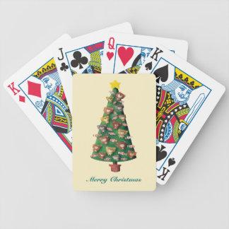 Cute Bears on Christmas Tree Bicycle Poker Cards