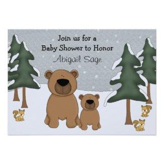 Cute Bears Winter Woodland Baby Shower Invitation