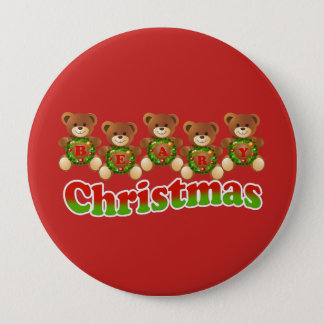 cute beary Christmas designed button pin