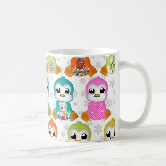 Cute beautiful colourful penguins flowers coffee mug