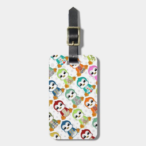 Cute beautiful colourful penguins flowers tags for luggage