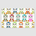 Cute beautiful colourful penguins flowers stickers