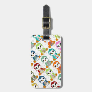 Cute beautiful colourful penguins flowers tag for luggage